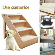 Pet Stairs 4 Steps Soft Portable Cat Dog Animal Step Ramp Small Climb Beige