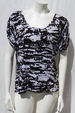 MICHAEL KORS Black White Gray Print Soft Stretch Rayon Tee Shirt size L EUC