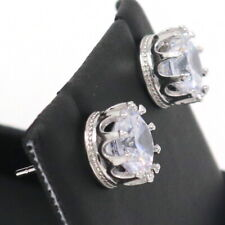1.5 Ct Round Cut Moissanite Crown Stud Earrings 14k White Gold Filled Jewelry