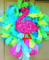 Summer Pink Flamingo Wreath Deco Mesh Tiki Party Luau All Occasion Door Decor