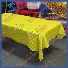 Tablecloth Rectangle Pintuck Taffeta 2 inches Square 55 X 108 Yellow