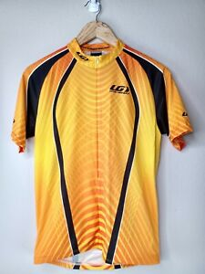 Louis Garneau Men's Cycling Large Short Sleeve Yellow Half Zipper Shirt 2050