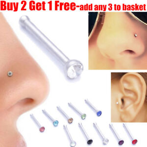 Surgical Steel Small Crystal Nose Stud Tragus Stud Pin Ball End Body Jewellery