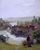 Nice Oil painting Hans Thoma - Der Rhein bei Laufenburg the rhine in laufenburg