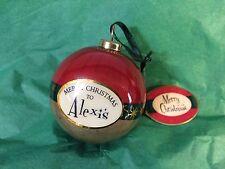 MERRY CHRISTMAS to ALEXIS Paper Mache Ball Ornament STOCKING STUFFER Teacher