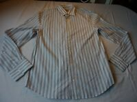 JUICY COUTURE SIZE M/40 WHITE/NAVY/GREY STRIPED COTTON LONG SLEEVE SHIRT