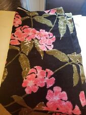 Adore Me Beach Towel Blanket Black pink floral