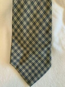 Vintage Chanel pure silk neck tie with geometric black and white check pattern