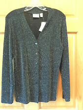 CHICO'S SLINKY LIQUID SPARKLY KNIT BUTTON FRONT JACKET-SIZE 1- NWT-RETAIL $88