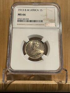 1913 BRITISH WEST AFRICA 1 Shilling, NGC MS 66 Superb Gem UNC/ BU, TOP POP, Rare