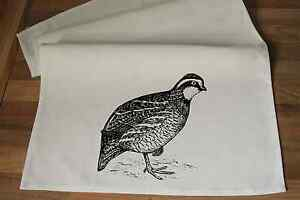 Bobwhite Quail Tea Towel-  Handmade Screen Printed  100% Cotton