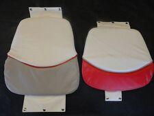 HELM SEAT CUSHION SET (2 PIECE) WHITE / TAN / RED MARINE BOAT