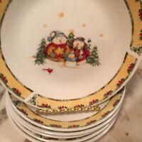 Gibson Dinnerware 2003 Snowman Frolic Dessert Plates 7 Inch Set Of Six