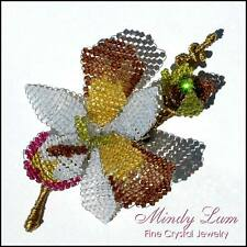 Swarovski Crystals Orchid Pin Brooch by Mindy Lam