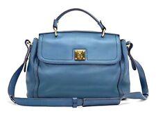 Elegante MCM Leder Tasche Schultertasche Blau Türkis Henkeltasche Shopper Bag