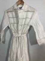 Vintage April Cornell White Robe SMALL Cotton 80s Cottage