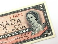 1954 Canada 2 Dollar Circulated LG Bouey Rasminsky Banknote Two Dollar R691