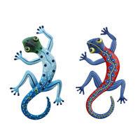 2pcs Gecko Lizard Wall Hanging Decor Metal Reptile Sculpture Home Garden Patio ❤