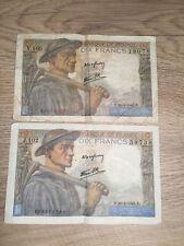 BILLET FRANCE 10 FRANCS MINEUR  26/4/1945B + 26/4/1945D