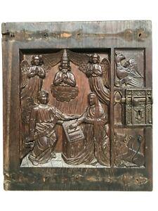 SALE!! Stunning Gothic annunciation Carved door panel in wood + Evangelist (1)
