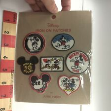 New listing Disney Mickey Mouse Patch 7 Iron on Patches By Junk Food in Plastic Package 05Tq