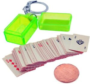 VINTAGE MINIATURE 52 PLAYING CARDS DECK IN CASE KEYCHAIN KEY RING
