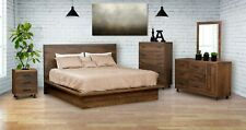 Amish 5-Pc Bedroom Set Modern Solid Rough Cut Wood Platform Panel Bed Queen King