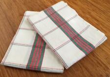 COPPIA Vintage Non Usato Lino Francese torchons Tea asciugamani