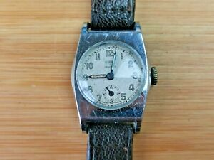 1940s Sirex Sub-Dial 7 Jewels Military Tank Style Watch, Needs Service