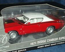 """#19 ERTL  """"AUTHENTICS"""" 1971 DODGE CHARGER SUPERBEE """"CHASE CAR"""" 1/18 RED/WHITE"""