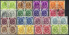 Bund Posthornserie 1951 in waagerechten Paaren, Michel 123-138 bte. lesen (S9821