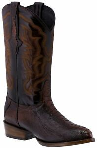 Mens Rust Cognac Real Ostrich Foot  Exotic Skin Leather Cowboy Boots J Toe