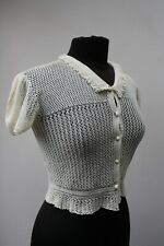 Antique/Vintage Very Fine Hand Crocheted Cardigan, Size Small