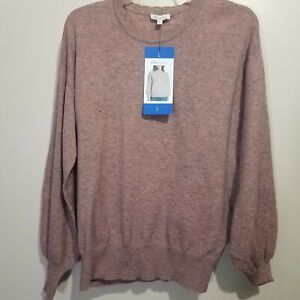Ella Moss Sweater Junior Womens L Cloud Pink Long Puff Sleeves Round Neck NWT