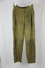 Vintage 1980's Mario Valentino Suede Olive Green pleated pants 46 (10)