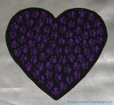 "Embroidered Animal Paw Prints Love 3.75"" Purple Heart Patch Iron On Sew On USA"
