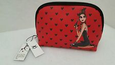 IZAK New York Red with Black Hearts Large Dome Cosmetic Case Bag nwts