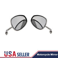 Chrome Universal Motorcycle Large Vision Long Stem Rearview Side Mirrors 10mm