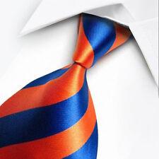UK1067 bleu orange stripes new silk classique jacquard tissé hommes cravate cravate