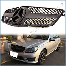 For 12-14 M-BENZ W204 Sedan C250 C300 C350 Front Grille SL Look All Matte Black