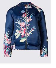 M&S PER UNA  Floral Print Satin Bomber Jacket RRP £59