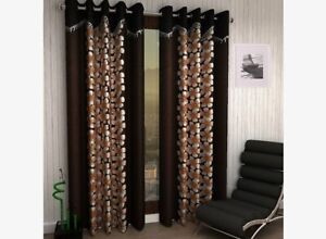 Designer Floral Window Curtain for 6ft in Brown color 2pc of pack by Homefab