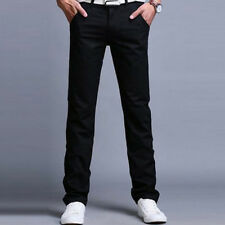 Mens Designer Trousers Chinos Stretch Skinny Slim Fit Jeans Straight Leg Pants
