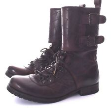 ALLSAINTS Damisi Brown Leather Combat Short Boots Buckles Size 40 / 9