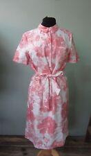 Señoras Jaeger Blanco/Rosa Floral Vestido Ropa De Manga Corta Estilo Camisa-UK Size 12