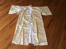 VTG Silk Kimono Asian Japanese gold leaf costume dress robe wide sleeved SZ L