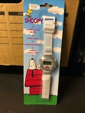 More details for peanuts boxed snoopy on kennel digital watch white canvas strap schultz 90s