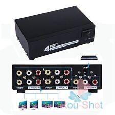New MT-VIKI 4 Port RCA Video Audio AV Switch Switcher 4 In 1 Out TV Splitter Box