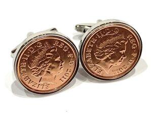 "Luxury 11th ""Steel wedding"" anniversary cufflinks - 1p coins from 2010"