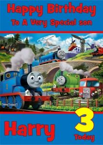 Personalised Birthday card Thomas The Tank Engine any name/relation/age